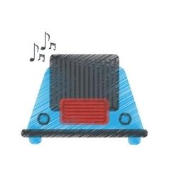 drawing radio music communication device vector image