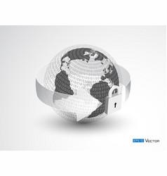 earth lock and binary code vector image vector image