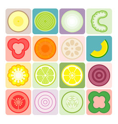 fruits and vegetables icons set 3 vector image