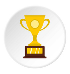 Gold winner cup icon circle vector