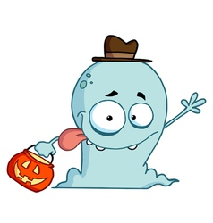 Goofy blue halloween ghost waving vector