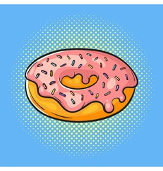 hand drawn pop art of donut Fast food vector image vector image