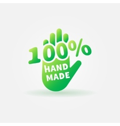 Hand made green label or sign vector