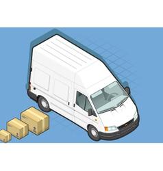 Isometric white van in front view vector