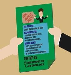 Job Finder Advertisement on Leaflet vector image