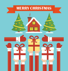merry christmas modern concept flat design vector image