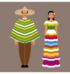 Mexican man and woman in traditional clothes vector