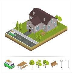 Modern house modern home isometric cottage vector