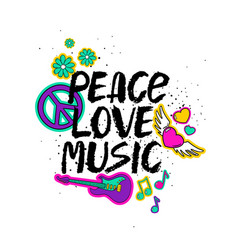 Peace love music lettering with cartoon stickers vector