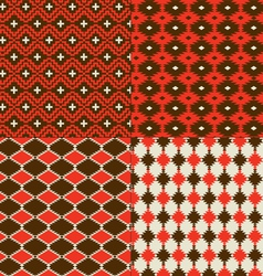red native american patterns vector image
