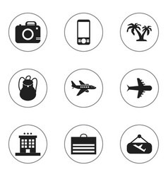 Set of 9 editable trip icons includes symbols vector