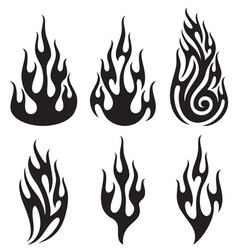 set of flames - flames collection vector image