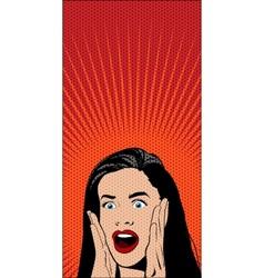 Shocked Pop Art Woman vector image