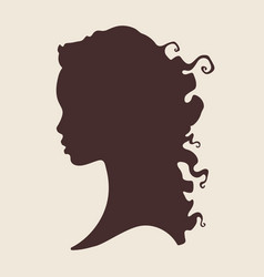 silhouette of beautiful curly african woman in vector image