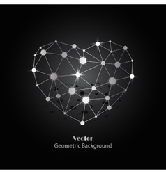Silver heart made of connected lines and dots vector image vector image