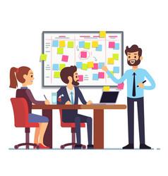 Students team work on tasks process schedule in vector