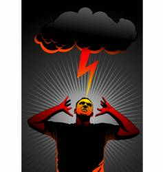 thunder in head vector image vector image