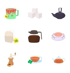 Types of drinks icons set cartoon style vector
