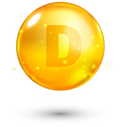 Vitamin D glitter gold icon vector image