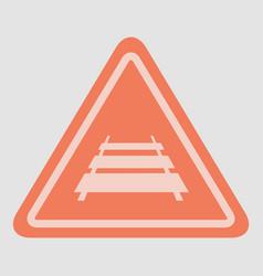 Warning traffic sign railroad vector