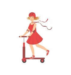 Woman in red dress riding a scooter vector