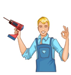 Young handsome man with drill isolated eps10 vector image vector image