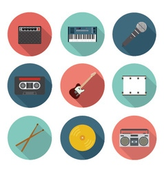 Music and entertainment flat icon set vector