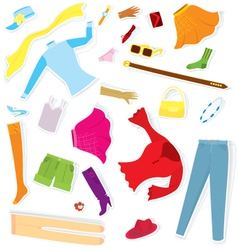 Clothes sticker set vector