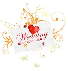 Hand made wedding card vector