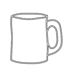 Silhouette big porcelain mug utensil kitchen vector