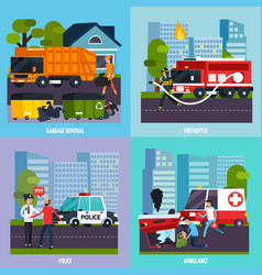 Emergency services icon set vector