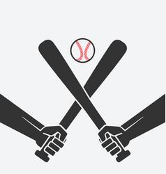 Hands with baseball bats and ball vector
