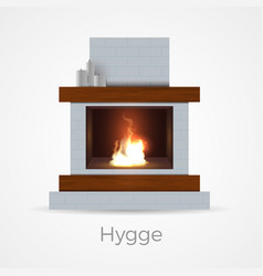 Hygge fireplace concept vector