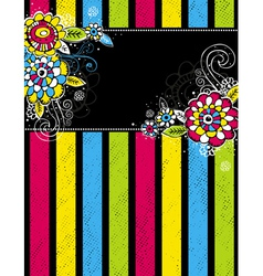 Hand draw flowers on color stripe on black backgro vector
