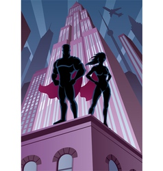 Superhero Couple 5 vector image