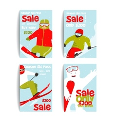 Mountain skier colorful winter sport flyer design vector