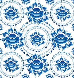 Gzhel seamless ornament pattern with blue flowers vector