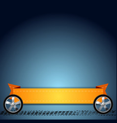 Wheels grunge tire track and orange ribbon vector
