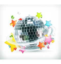 Party stars and disco ball icons vector