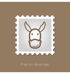 Donkey stamp animal head vector