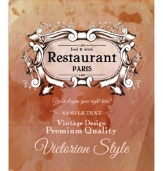 Old vintage victorian label for menu of vector