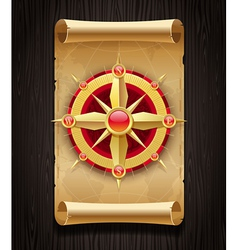 Compass rose and vintage map vector