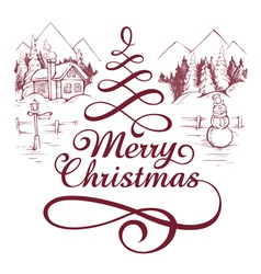 Calligraphic christmas letterin vector