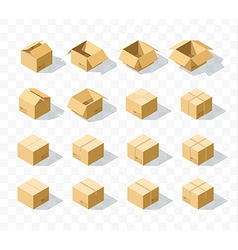 Set of 16 realistic isometric cardboard boxes with vector