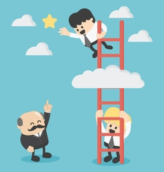 Businessman on a ladder grab the star vector