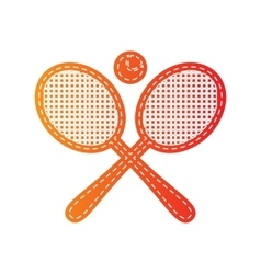 Tennis racket sign orange applique isolated vector