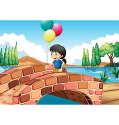 A girl with three balloons walking along the vector