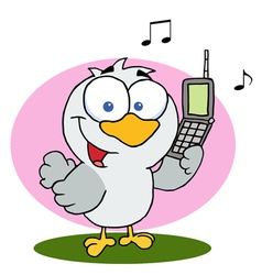 Bird Holding A Cell Phone vector image