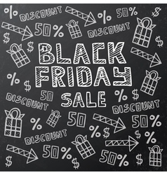 Black friday sale background on dark chalkboard vector