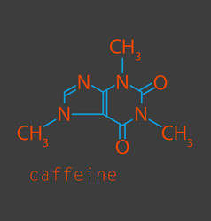 caffeine molecule chemical structure background vector image